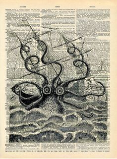 Altered Art Book Print - Giant Squid Sea Monster - Upcycled Book Print - Pirate Ship Nautical Art Print. via Etsy.