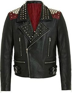 Mens Handmade,Silver Studded Biker Black Leather Jacket All Sizes - Outerwear Mens Zip Up Jackets, Punk Jackets, Leather Jackets, Jackets Fashion, Stylish Jackets, Stylish Men, Studded Leather Jacket, Black Leather, Real Leather