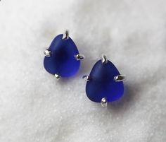 Cobalt Blue Sea Glass Earrings/ Genuine Sea by modesteparisienne