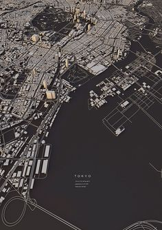 Tokyo city map Art Print by Luis Dilger - X-Small Landscape Architecture Design, Architecture Portfolio, Origami Architecture, City Architecture, Photoshop, Urbane Analyse, Urban Design Concept, City Layout, Planer Layout