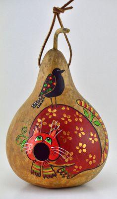 Whimsical Cat Gourd Birdhouse Garden Decor Yard Art by Gourdament