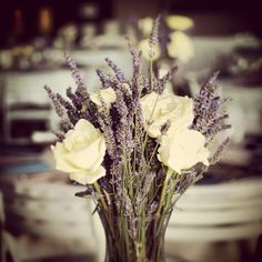 Lavender & White Rose Bouquet -- I like the idea, but switch to yellow roses and a white flower that is similar to lavender?