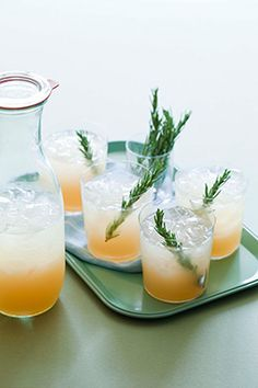 Rosemary Refresher: tequila, grapefruit juice, rosemary simple syrup, lime juice | Table Matters // Cocktails for a Crowd by Kara Newman