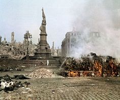"Funeral pyre of killed civilians from Allied ""Strategic"" fire bombing of Dresden."
