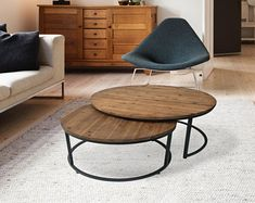 Scandi Nested Round Coffee Tables ( Set of 2)