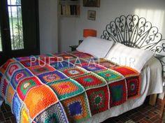 Manta de Crochet en lana cuadrados grandes