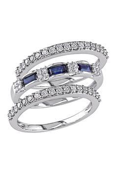 10K White Gold White Diamond & Baguette Sapphire Ring Set on @nordstrom_rack