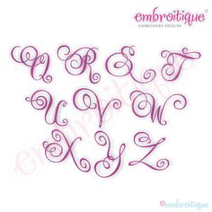 "July - Sept - Charming Calligraphy Script Monogram Set - Small - Full Set 1"", 1.5"", 2"", 2.5"" on sale now at Embroitique!"