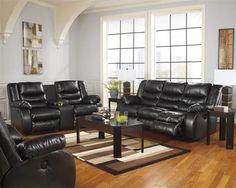 NEW Living Room Couch Set – Black Bonded Leather Reclining Sofa Loveseat Black Living Room Set, New Living Room, Living Room Sets, Freedom Furniture, Cool Furniture, Living Room Furniture, Furniture Ideas, Black Sofa