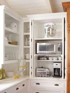 21 Ideas kitchen corner appliance garage for 2019 Hidden Kitchen, Clever Kitchen Storage, Kitchen Design, Outdoor Kitchen Appliances, Kitchen Appliance Storage, Kitchen Shelves, Appliance Garage, Small Kitchen Storage, Kitchen Cabinets