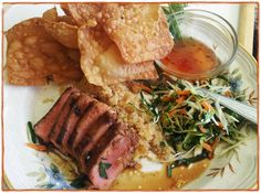 """Ginger-Soy SEARED AHI TUNA RECIPE!  Many people think """"Ahi Tuna is expensive, I can't make it."""" But with portion sizes like this is no more money than serving steak. Maybe less, and healthier for you. **CLICK PHOTO FOR *RECIPE - HOW TO!**"""