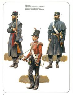 British; Inkerman 5th November 1854. 49th Regiment of foot, Line company, Sergeant. 68th Light Infantry, Bugler & 95th Regiment of Foot, grenadier company, Officer.