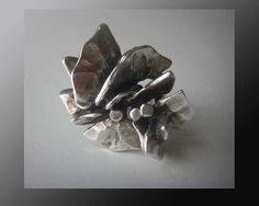 Flower Power-RIMA,NYC Modernist,Wild Cast Sterling Silver Brutalist Flower Ring,Big,Weighty,Beautiful Design,Vintage Jewelry,Women