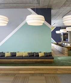 Accent Wall Cisco Offices / Studio O+A~alternate wall and floor graphic~ideas to add pops of color into the layout.~wall and floor graphic ideas for front reception/conference/hallway. Commercial Design, Commercial Interiors, Wall Patterns, Paint Designs, Office Interiors, Wall Decor, Diy Wall, Wall Art, House Design