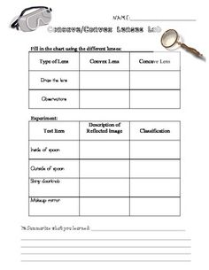 Printables Reflection And Refraction Worksheet concave and convex lenses worksheet davezan lens light reflection amp refraction lesson pinterest