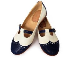 Blue and white flat leather shoes by QuieroJune on Etsy, $195.00