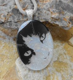 Oval Fused Glass Pendant Cat Lover Jewelry Cat Lover by GlassCat