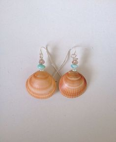 Seashell earrings beach wedding