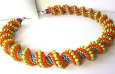 Peyote spiral weave instructions and tutorial for necklace or bracelet via Etsy