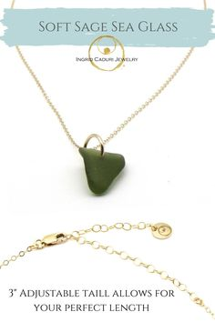 Genuine sea glass and gold necklace, handmade with love. Sea Glass Necklace, Sea Glass Jewelry, Gold Necklace, Jewelry Shop, Jewelry Making, Dainty Gold Jewelry, 14 Karat Gold, Women Jewelry, Pendants