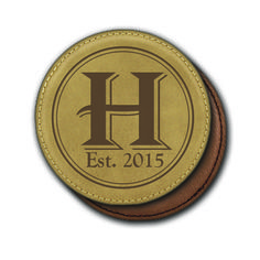 Round Leather Coasters (6) - Double Circle with Monogram and personalized est. date