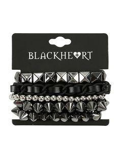 Blackheart Spike Stud & Chain Bracelet Set,
