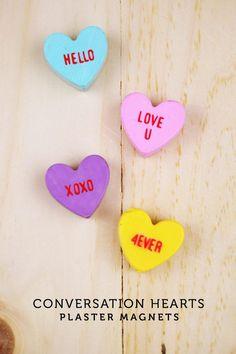 DIY Valentines : DIY Conversation Hearts Magnets