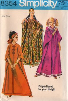 60s Caftan Simplicity 8354 Sewing Pattern One Size by stumbleupon, $8.75