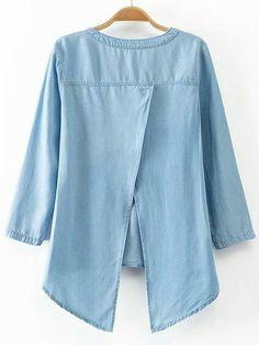 Back Slit Stand Neck Sleeve Denim Blouse Denim Blouse, Denim Top, Blouse Dress, Denim Fashion, Look Fashion, Womens Fashion, Trendy Fashion, Cute Blouses, Blouses For Women