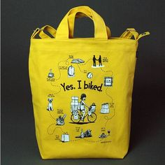 Yes, I Biked Tote by Bikeyface