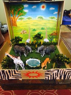 My daughters 3rd grade project, Diorama of African Savannah Habitat with added special effects soundtrack of the Lion King.