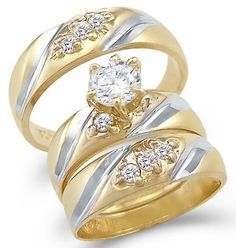 14k Yellow and White Gold Engagement Wedding His and Hers Trio Three Piece CZ Ring Set Round Cut Sonia Jewels. $703.00
