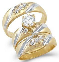 14k Yellow and White Gold Engagement Wedding His and Hers Trio Three Piece CZ Ring Set Round Cut, http://www.amazon.com/dp/B002DWN2I0/ref=cm_sw_r_pi_awdm_6hA5tb1Y7BN8Z