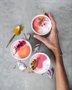 Pink Latte make from beet and vegan milk