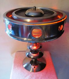 Retro Modern Atomic Upcycled Art Lamp Space Age Nuclear UFO Flying Saucer | eBay