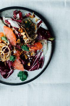 Thai Style Grapefruit + Radicchio Salad Tending the Table Winter Salad Recipes, Summer Recipes, Healthy Salads, Healthy Recipes, Vegetarian Recipes, Healthy Eating, Grapefruit Recipes, Think Food, Lunches