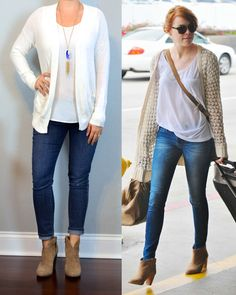 Outfit Posts: outfit post: cream boyfriend cardigan, white tank, skinny jeans, ankle boots