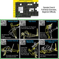 Suspension Exercise Poster: Periodic Table of Suspension Exercises by Stack 52. For All Suspended Bodyweight Trainer Straps. Video Instructions Included. Total body workout for home gym fitness.