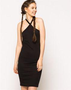 7a34a4ad652f0 Vero Moda Siyah Boyundan Çapraz Bağlı Slim Fit Elbise :: battal sepet 39.99  TL (KDV dahil)