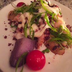 Pulpo Parrillero (Octopus, oca tuber, purple potato, cherry tomatoes, Botija olive crumbs, aioli mayo) @ Ceviche Old Street, London | Peruvian Food Restaurant