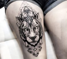 tiger with mandala tattoo by otheser tattoo