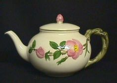 mom loved and collected teapots. She owned this one. Vintage Dishes, Vintage Tea, Desert Rose Dishes, Franciscan Ware, Cuppa Tea, Teapots And Cups, Rose Tea, Pie Plate, China Patterns