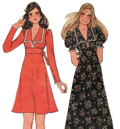 Vintage 1970s Empire Tie Waist Mini or Maxi Dress Pattern by TheOldLeaf, $5.95 #AllInTheFamily