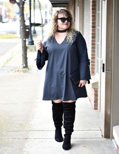 Plus Size Fashion for Women - Plus Size Fall Outfit Idea #plussize #fall #outfit #ootd #boots