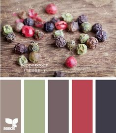 color palette for living room. Leather sofa, red accents. Tan carpet. Green in dining oom.