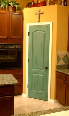 Painted & distressed kitchen pantry door....in only 20hrs short over 2weeks