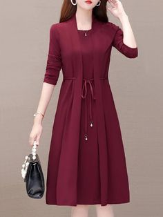 Women' A Line Dress Fashion Patchwork Two Layer Street Style Solid Color Tunic Dress Long Sleeve .Women' A Line Dress Fashion Patchwork Two Layer Street Style Solid Color Tunic Dress Long Sleeve Including The Belt Elegant Dresses For Women, Stylish Dresses, Women's Fashion Dresses, Dress Outfits, Elegant Midi Dresses, Fashion Clothes, Stylish Dress Designs, Designs For Dresses, Kleidung Design
