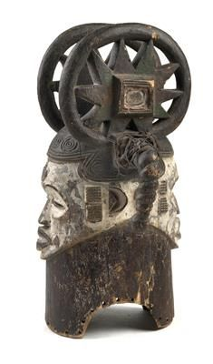 Ibo (Igbo or), Nigeria: A helmet mask with two faces.