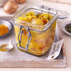 Mustard pickle - BBC Good Food - Like your piccalilli chunky? James Martin's version has whole baby onions, cauliflower pieces and tomatoes (birthday appetizers cherry tomatoes) Piccalilli Recipes, Cornflake Cookies Recipe, Birthday Appetizers, Mustard Pickles, James Martin, Canning Recipes, Relish Recipes, Jam Recipes, Snack Recipes