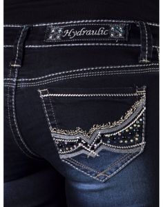 Hydraulic Boot Cut Jeans | Bailey Micro Boot Heavy Embroidery w/ Rhinestuds